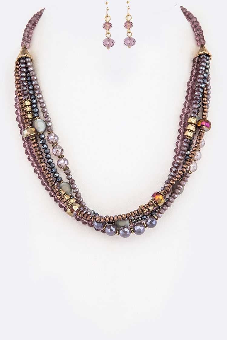 Mix Crystal Layered Necklace Set