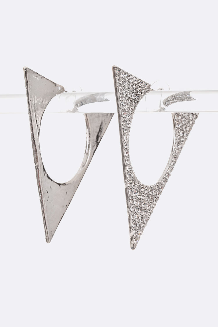 Crystal Iconic Triangle Hoops
