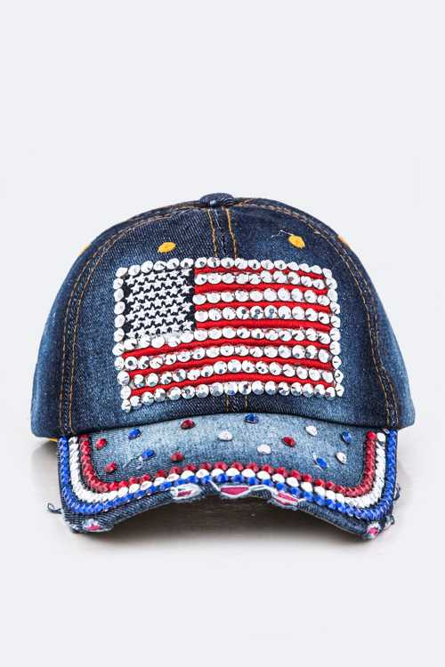 Crystal US Flag Embelished Fashion Denim Cap