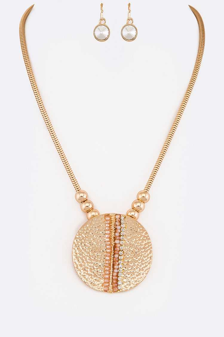 Textured Plate Crystal Pave Pendant Necklace Set