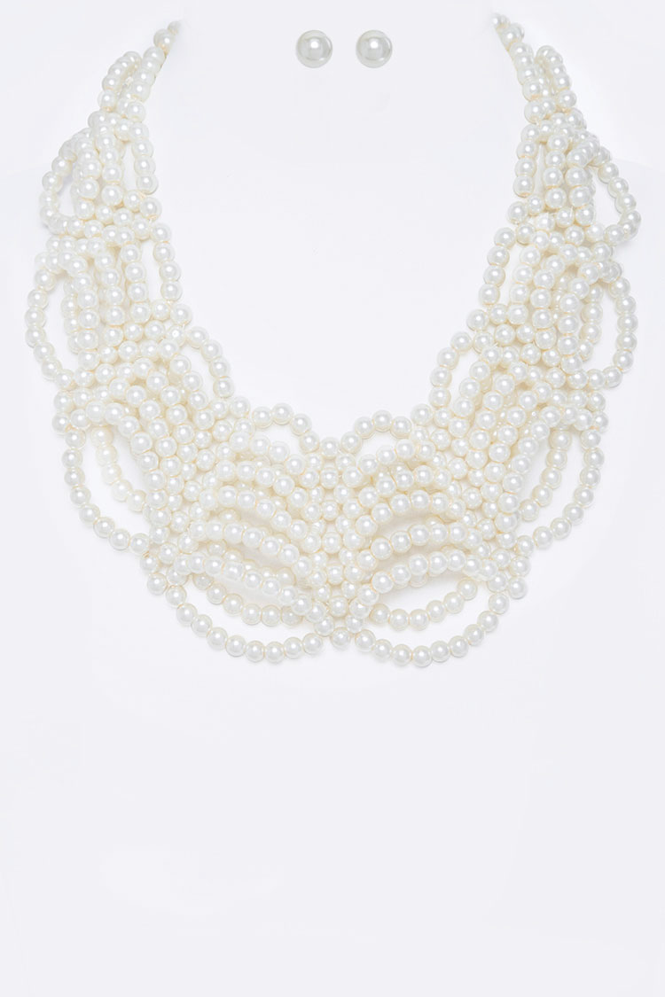 Loopy Pearl Statement Necklace Set