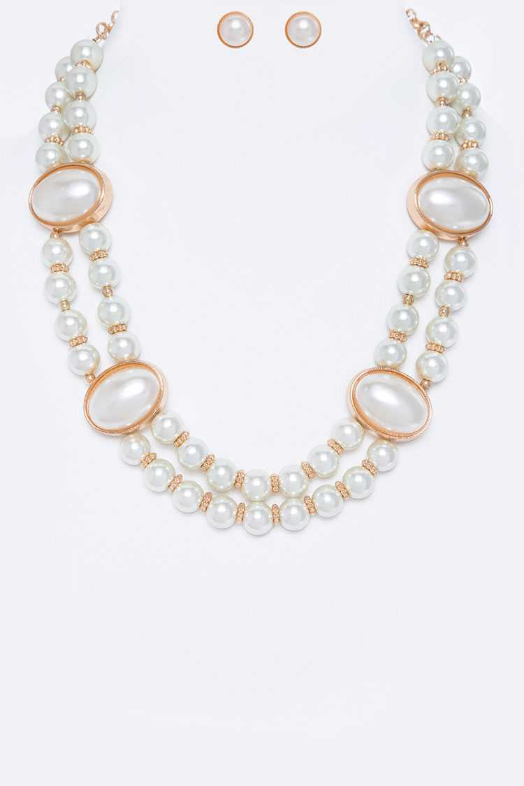 Oval Pearl Station Necklace Set