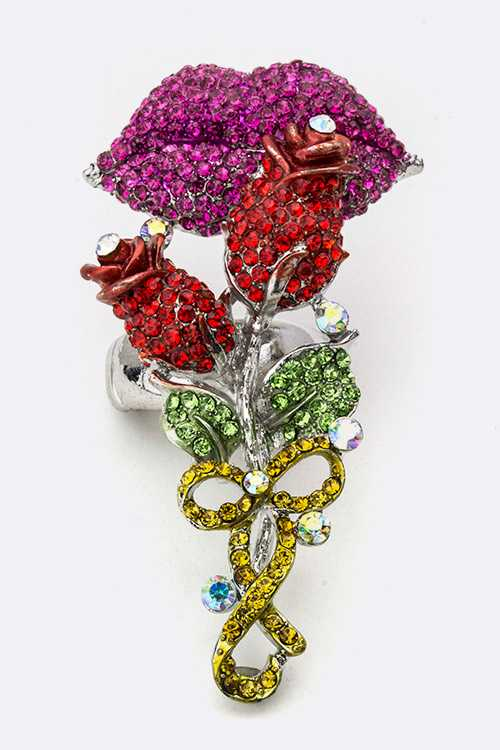 Crystal Rips & Roses Stretch Ring