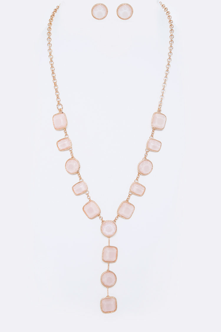 Square Dots Bejewel Necklace Set