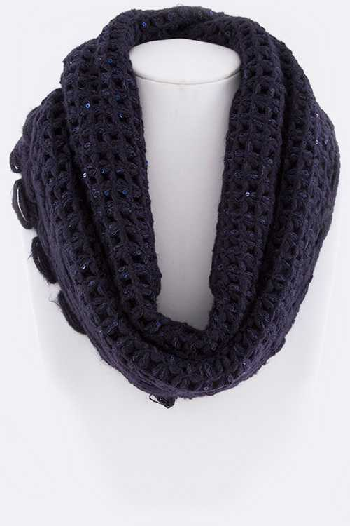 Loose Knit Sequins Ruffle Infinity Scarf