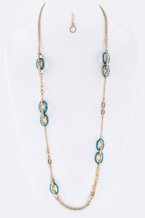 Hinged Beaded Hoops Station Necklace Set