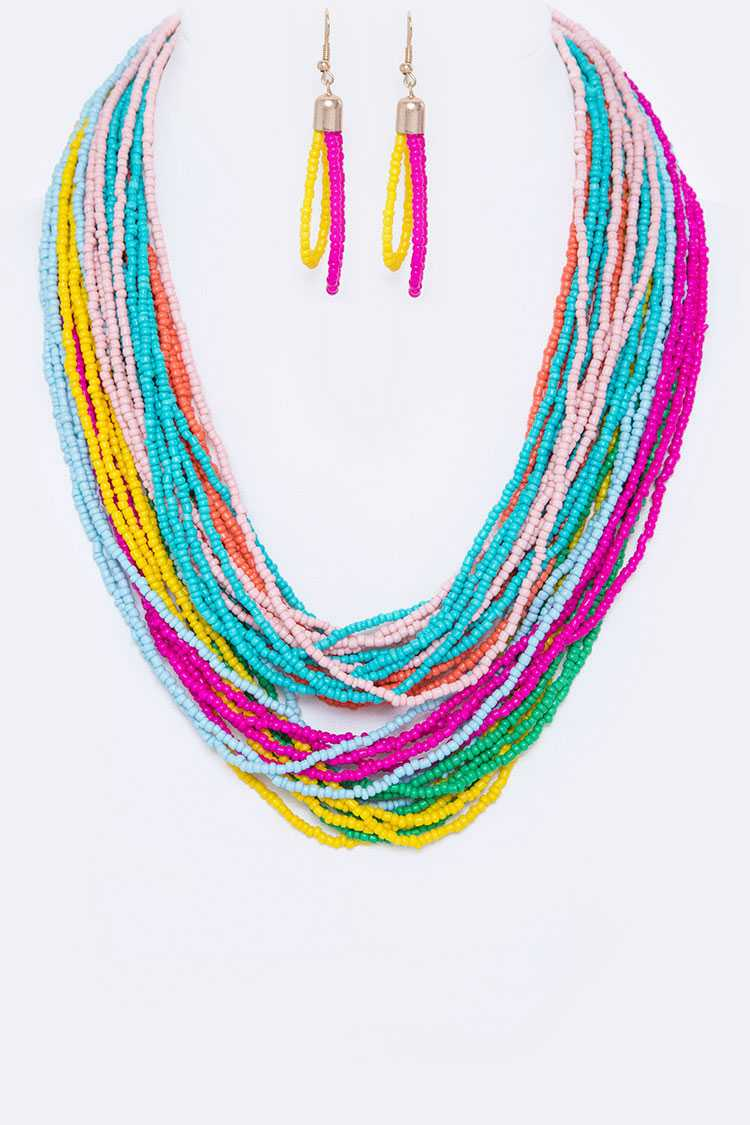 Mix Color Seed Beads Layered Necklace Set