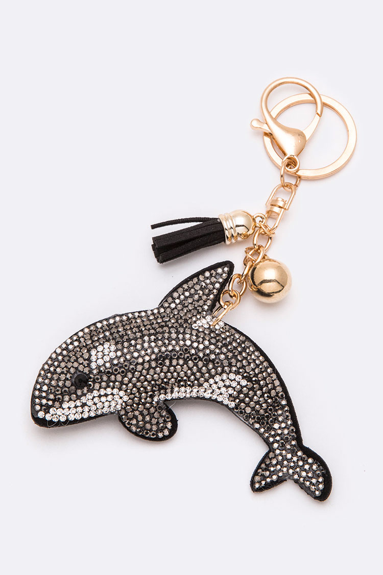 Crystal Sueded Dolphin Key Chain