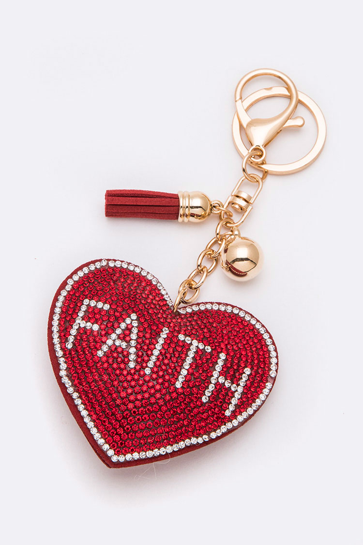 Faith Crystal Puff Heart Key Chain