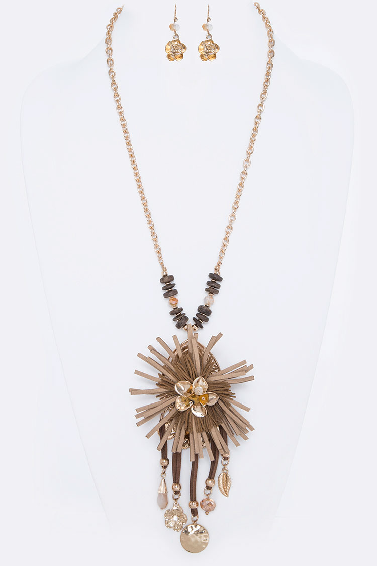 Sueded Flower Iconic Pendant Necklace Set