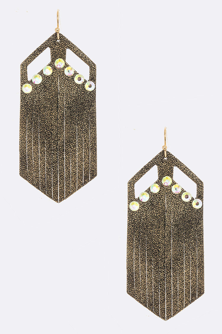 Crystal Pave Faux Leather Iconic Earrings