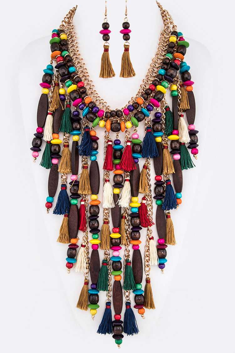 Mix Wooden Beads Tassel Statement Necklace Set