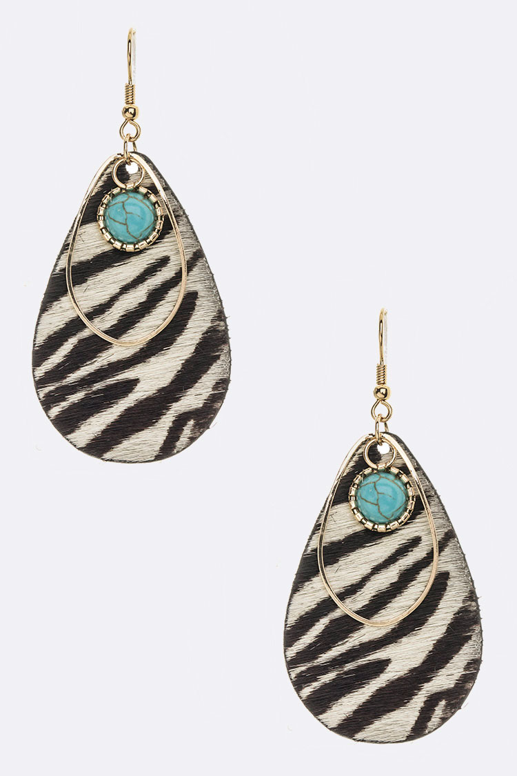 Calf Leather Animal Print Turquoise Drop Earrings