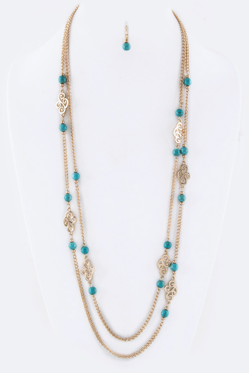 Filigree & Turquoise Bead Layer Station Necklace Set