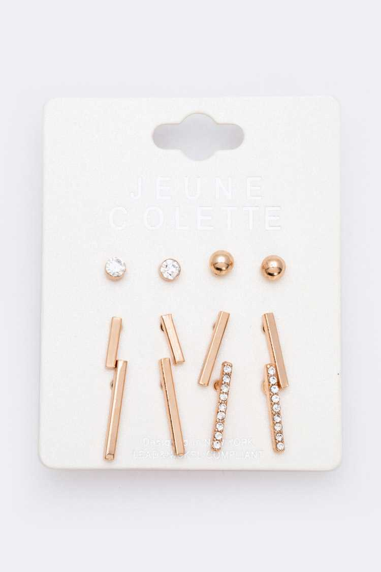 6 Pairs Bar And Beads Stud Earrings Set