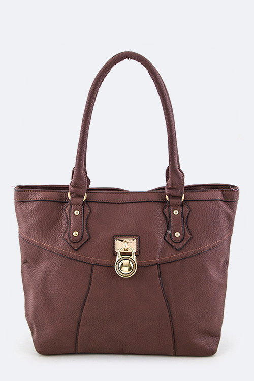 Padlock Accent Fashion Tote