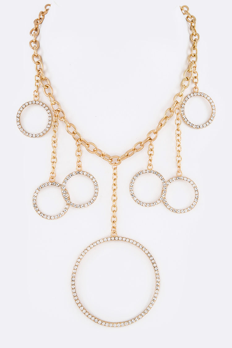 Crystal Ring Drop Iconic Necklace Set