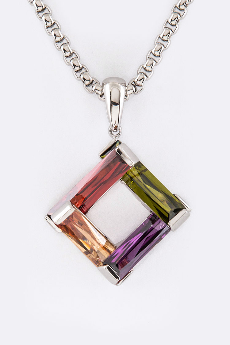 CZ Baguette Stone Square Pendant Necklace