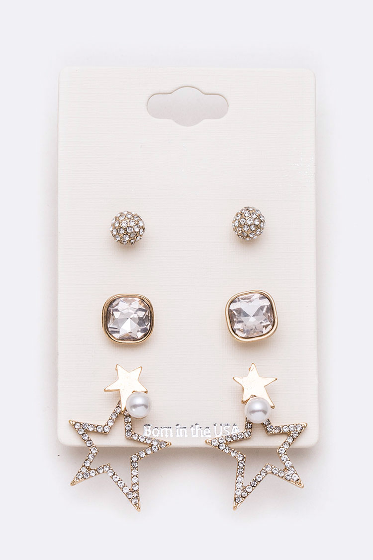 Crystal Star & Studs Earring Set