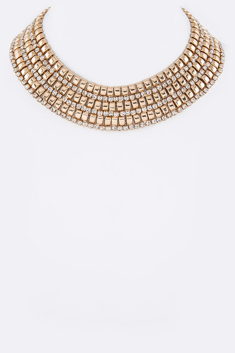 Crystal Metal Iconic Collar Necklace