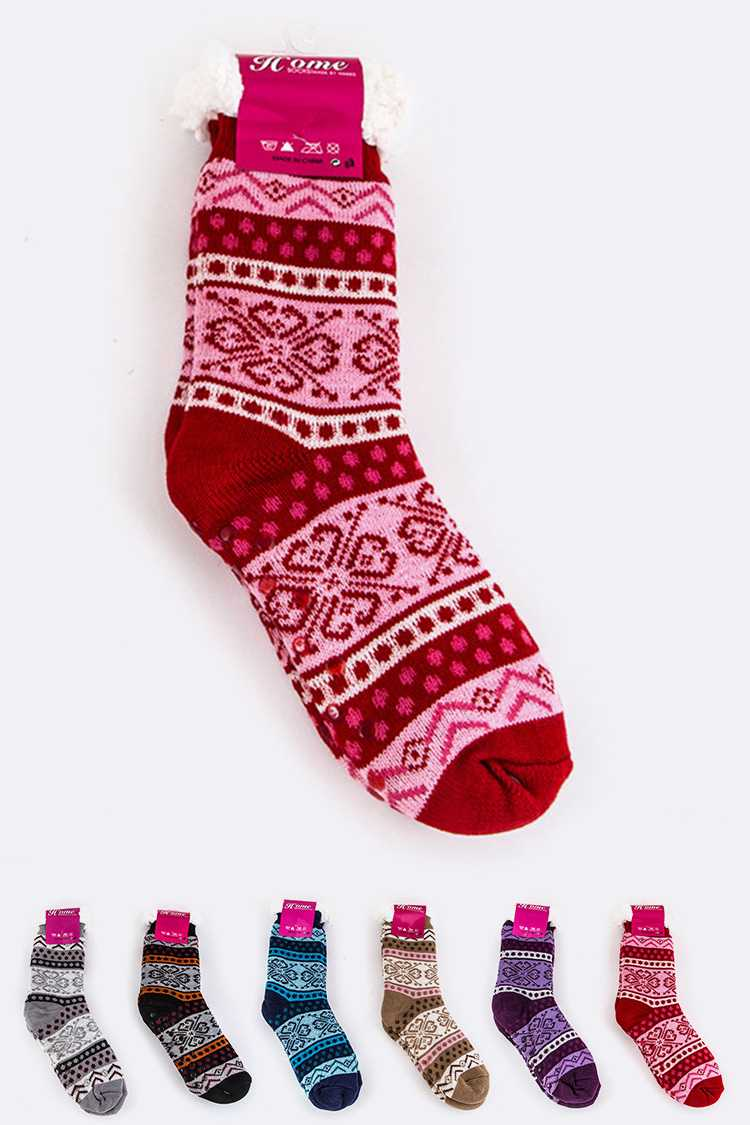 Fleece Lining Snowflake Print Winter Socks Set