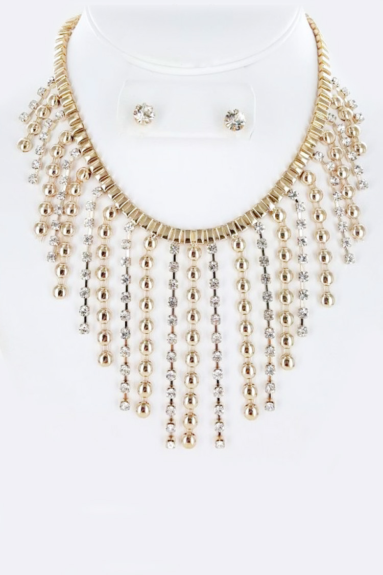 Rhinestone & Chain Fringe Statement Necklace Set