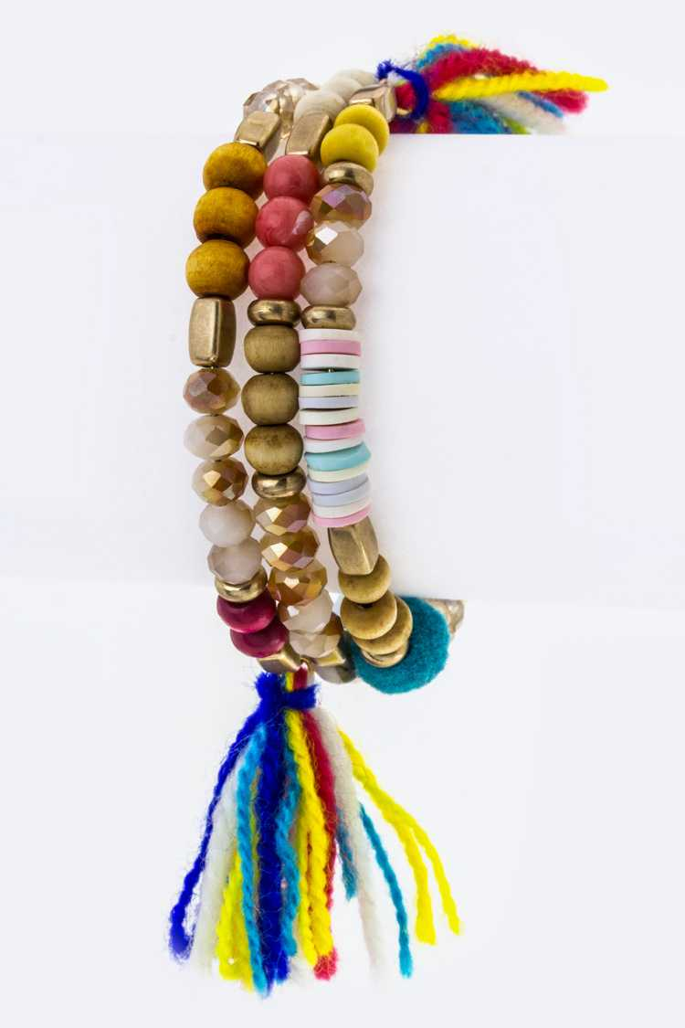 Mix Beads & Tassel End Wrapped Wire Bracelet
