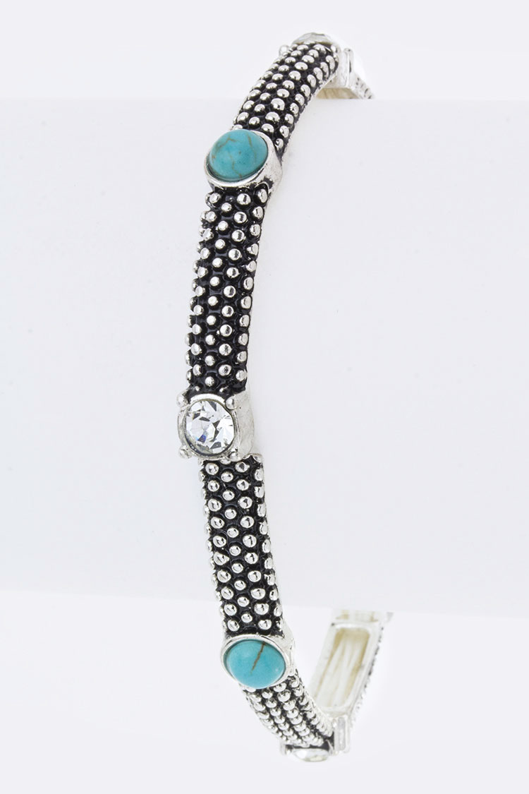 Turquoise Crystal Textured Stretch Bracelet