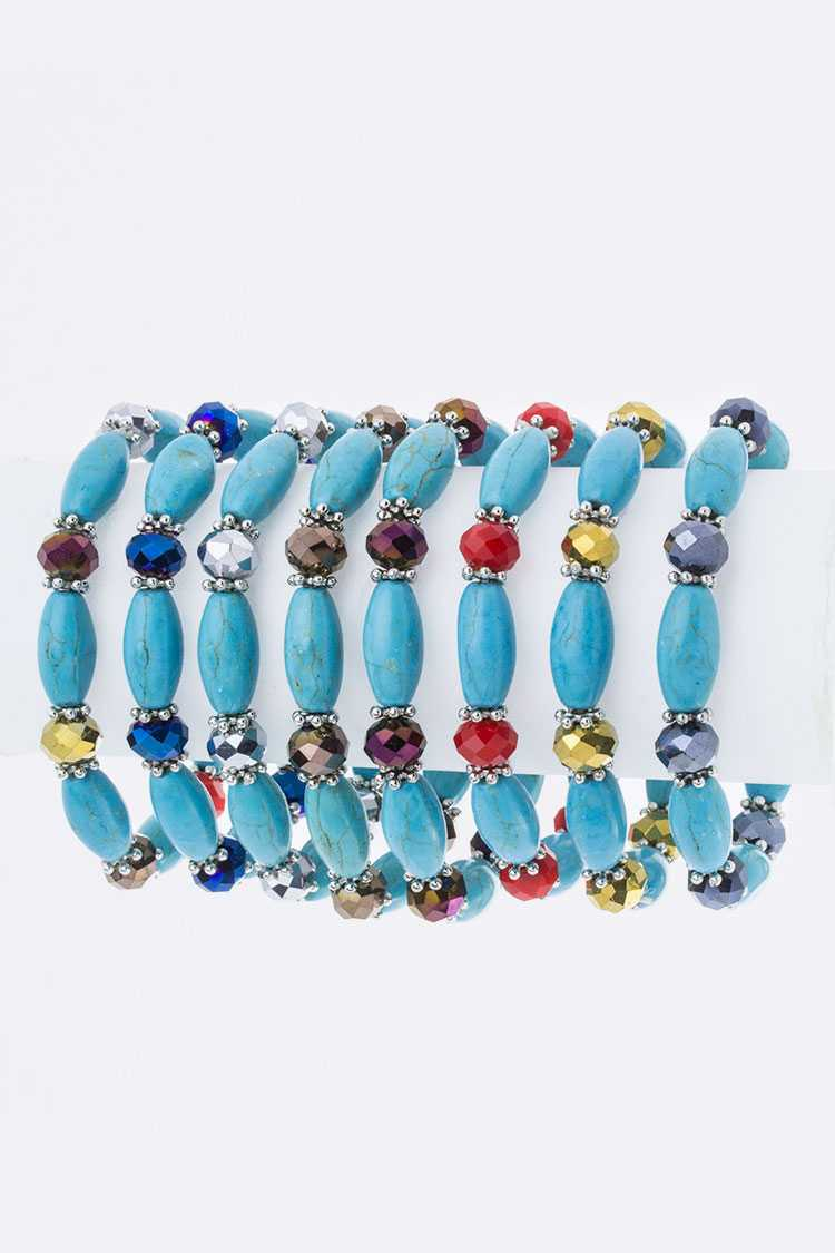 Turquoise Stone Crystal Stretch Bracelet Set
