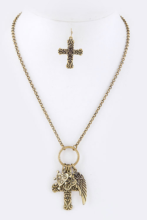 Textured Cross & Wing Pendant Necklace Set
