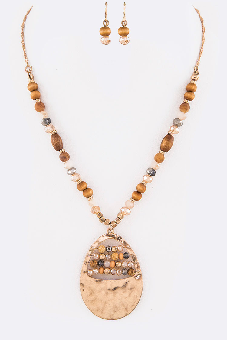 Mix Beads Hammered Teardrop Pendant Necklace Set