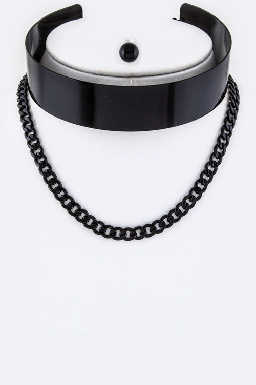 Metal Choker & Chain Necklace Set