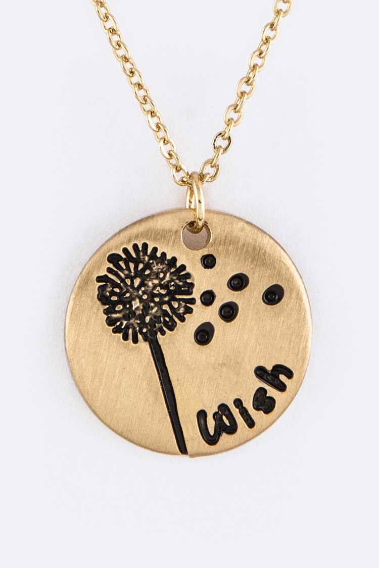 Engraved Disk Pendant Necklace with Pouch