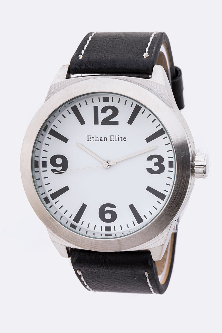 Classic Dial Leather Band Unisex Watch