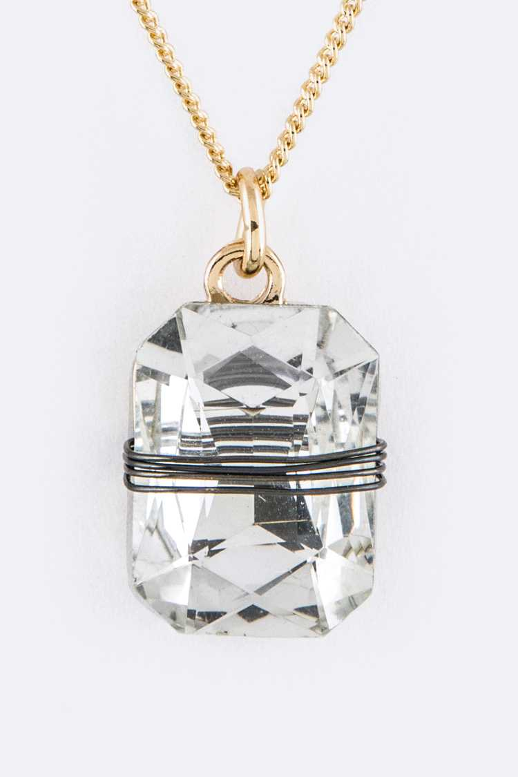 Wired Crystal Pendant Necklace Set