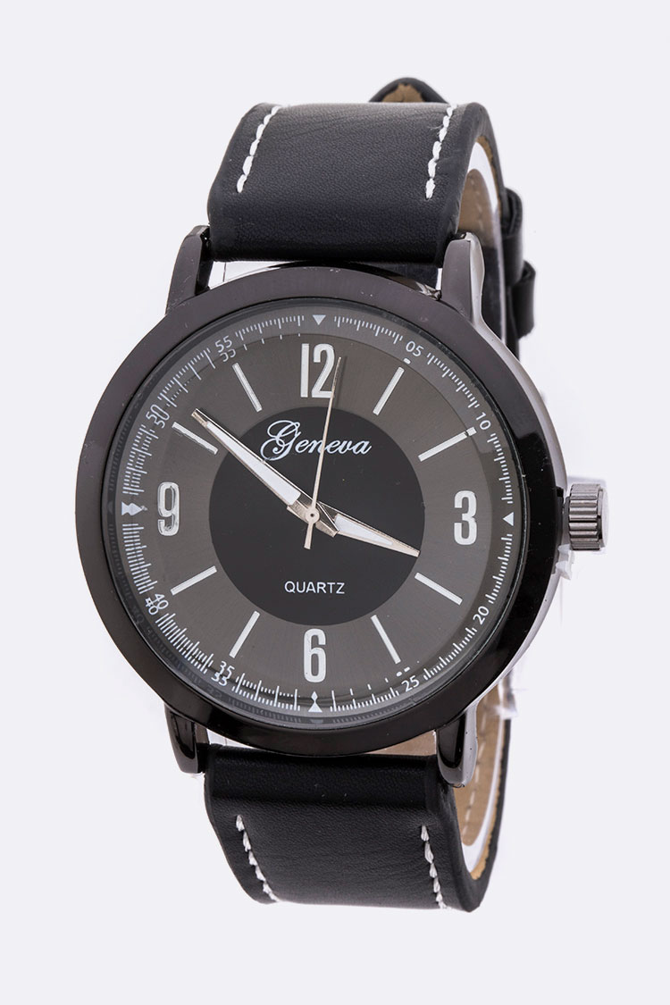 Classic Dial Unisex Leather Band Watch