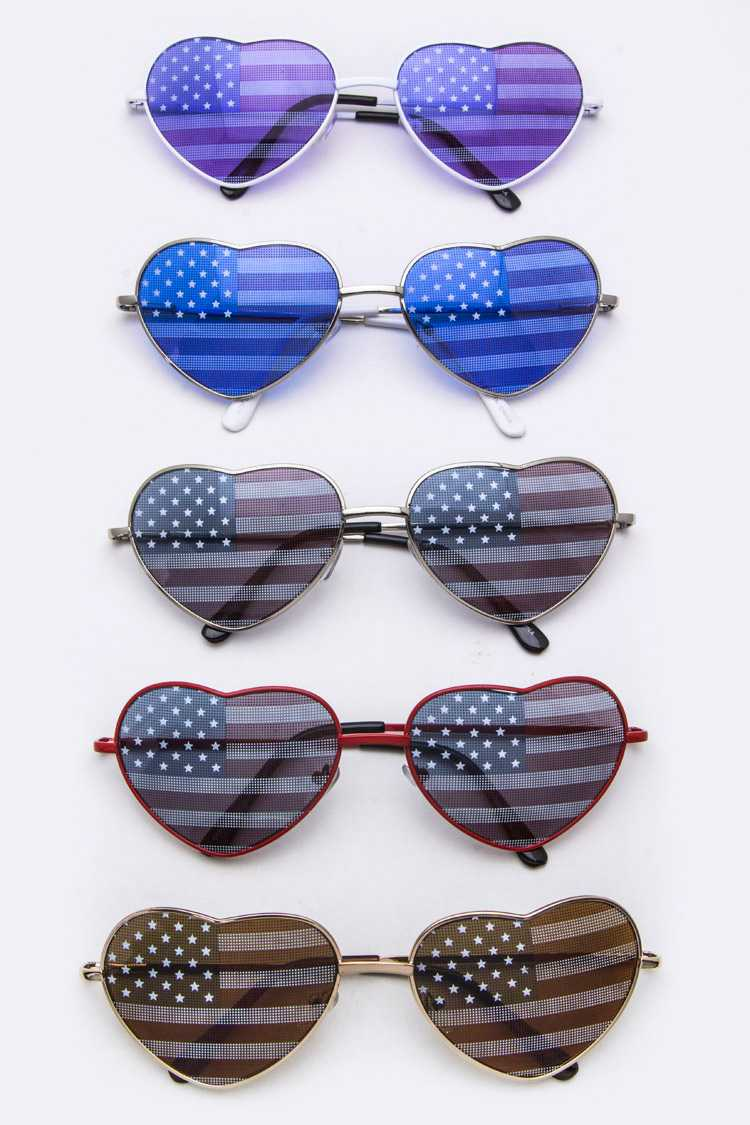American Flag Heart Shaped Iconic Sunglasses