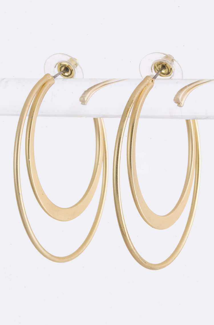 Double Ring Fashion Hoops