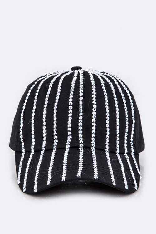 Crystal Stripe Fashion Denim Hat