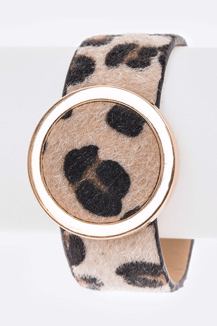 Leopard Printed Faux Leather Cuff