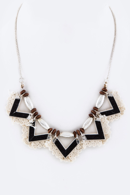 Laced Metal Bar & Mix Beads Statement Necklace