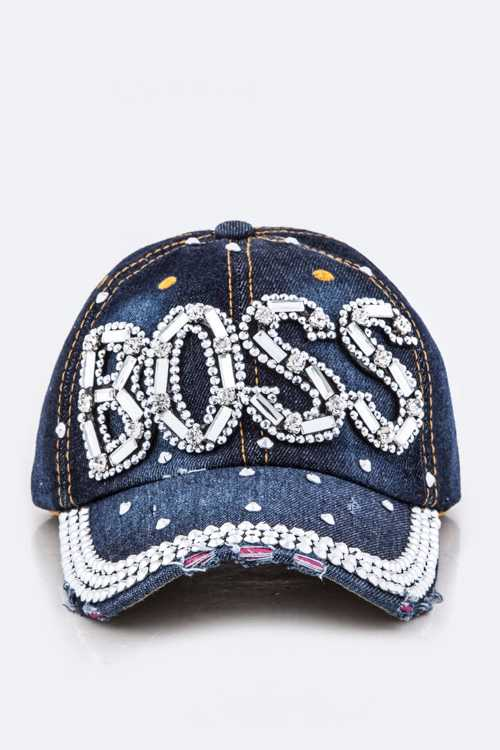 Crystal BOSS Embelished Fashion Denim Cap