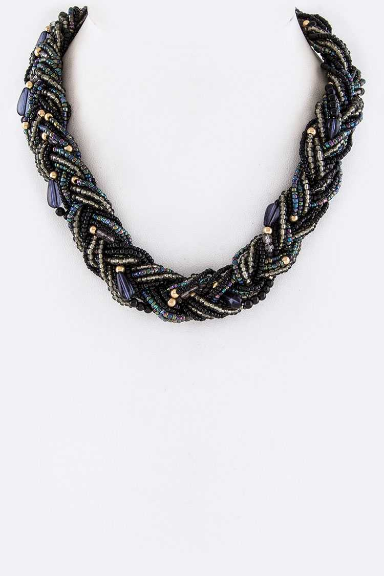 Braided Mix Beads Necklace