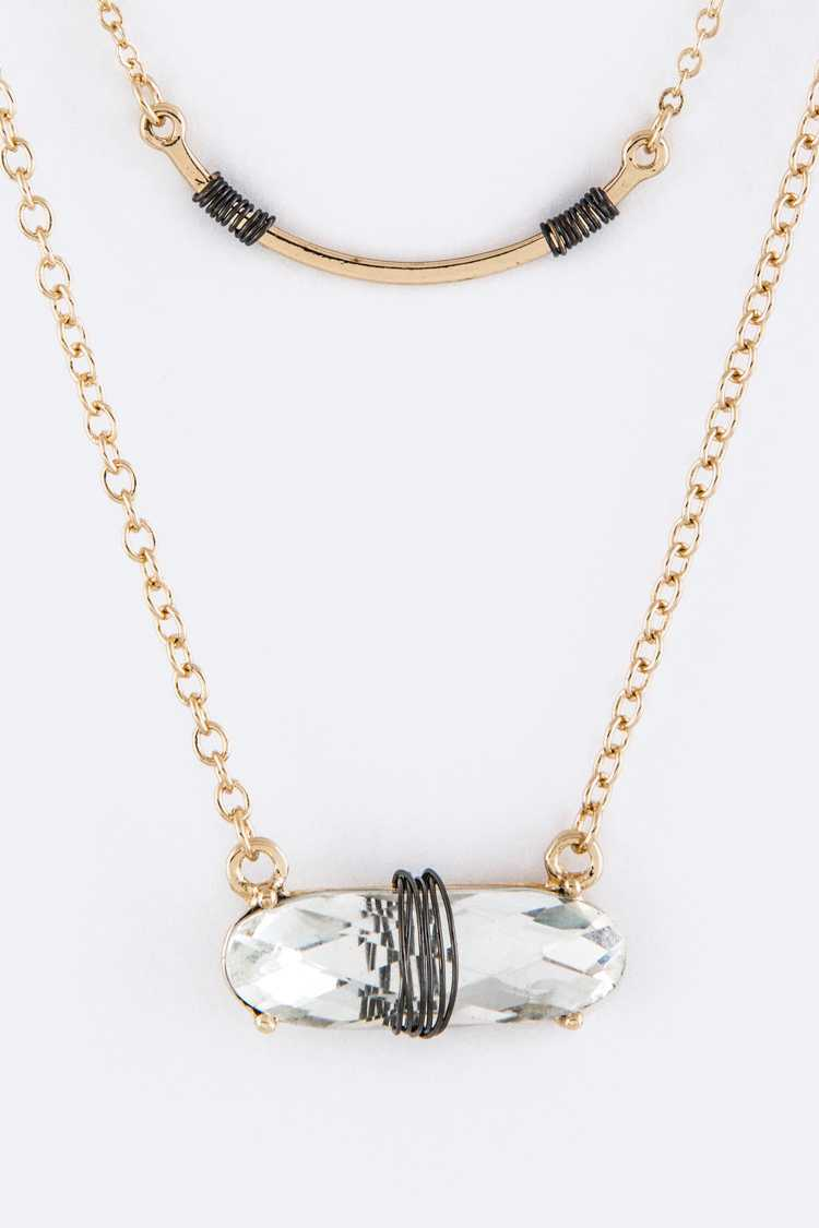 Wired Crystal & Metal Bar Layer Necklace Set