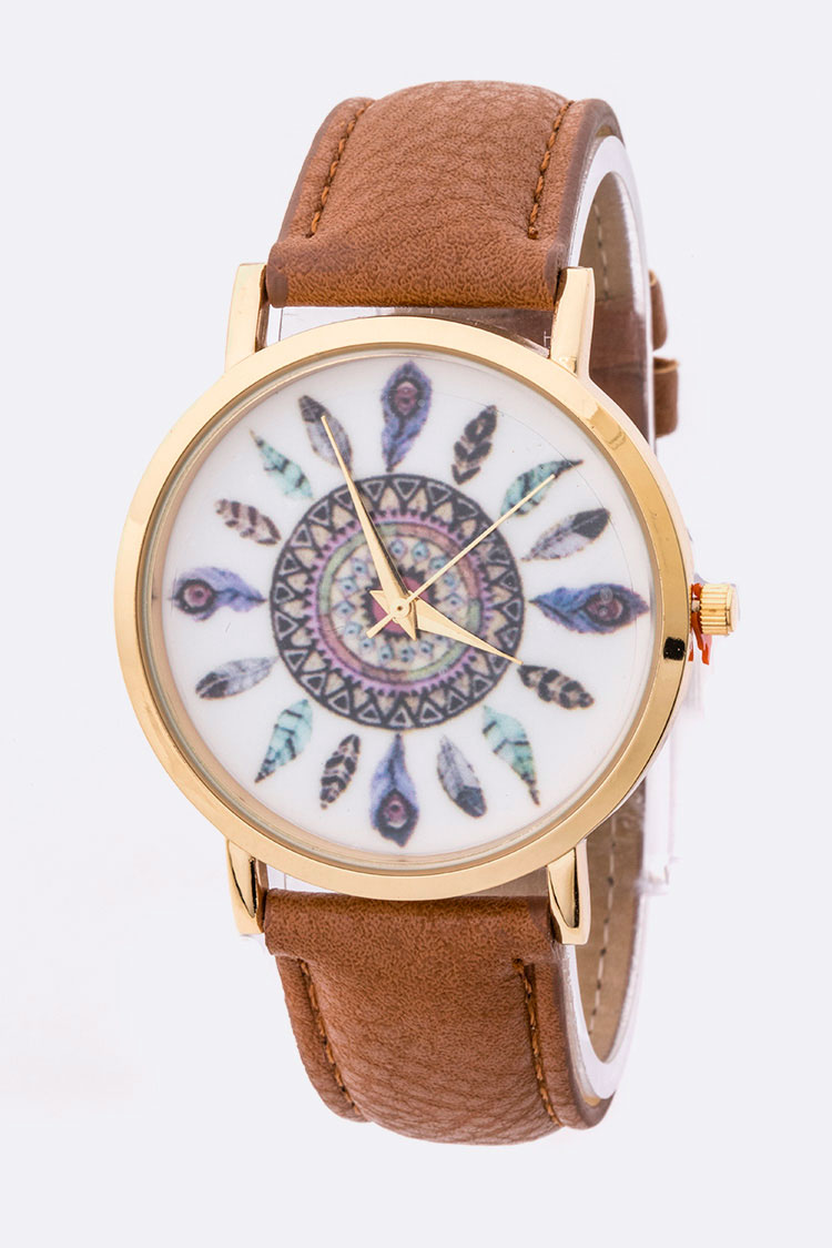 Tribal Feather Print Fashion Dial Watch