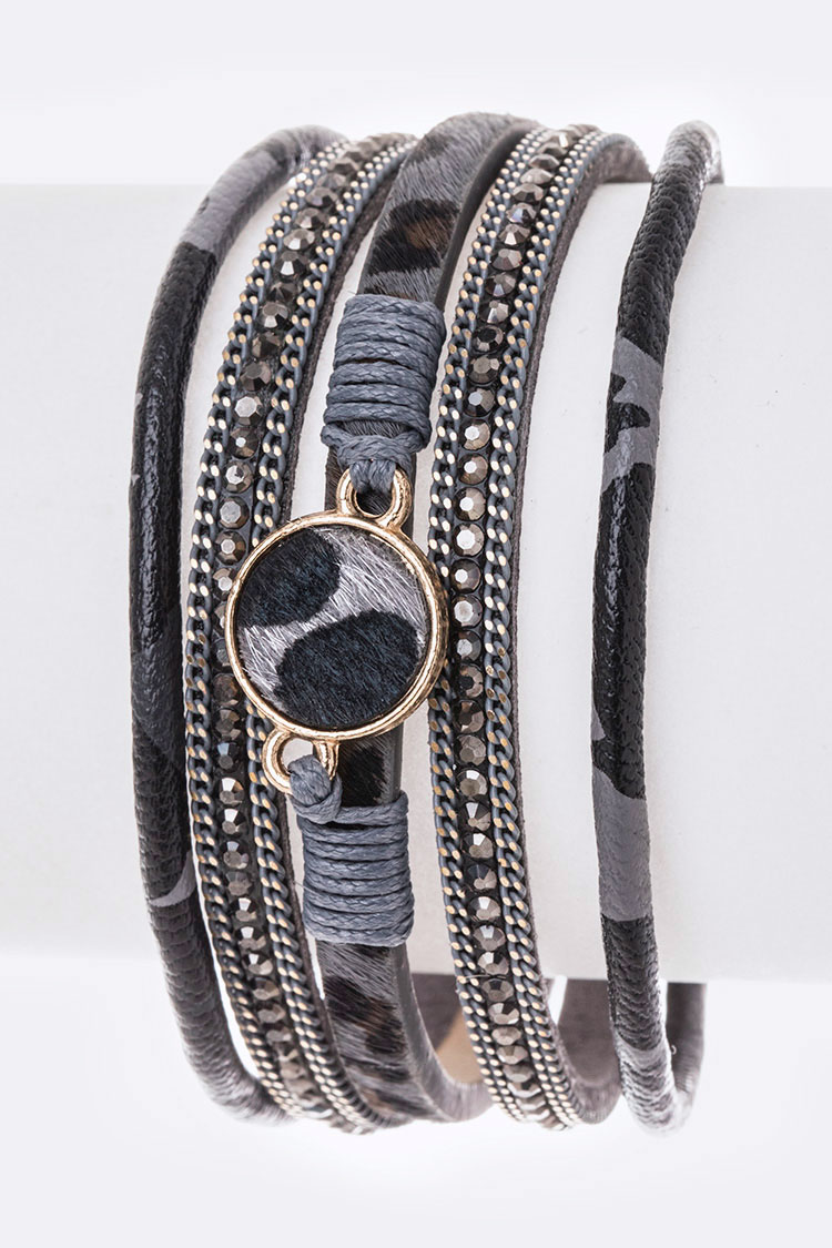 Mix Textured Animal Print Magnetic Bracelet