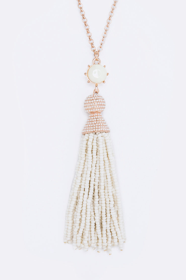 Seed Bead Tassel Iconic Pendant Necklace Set