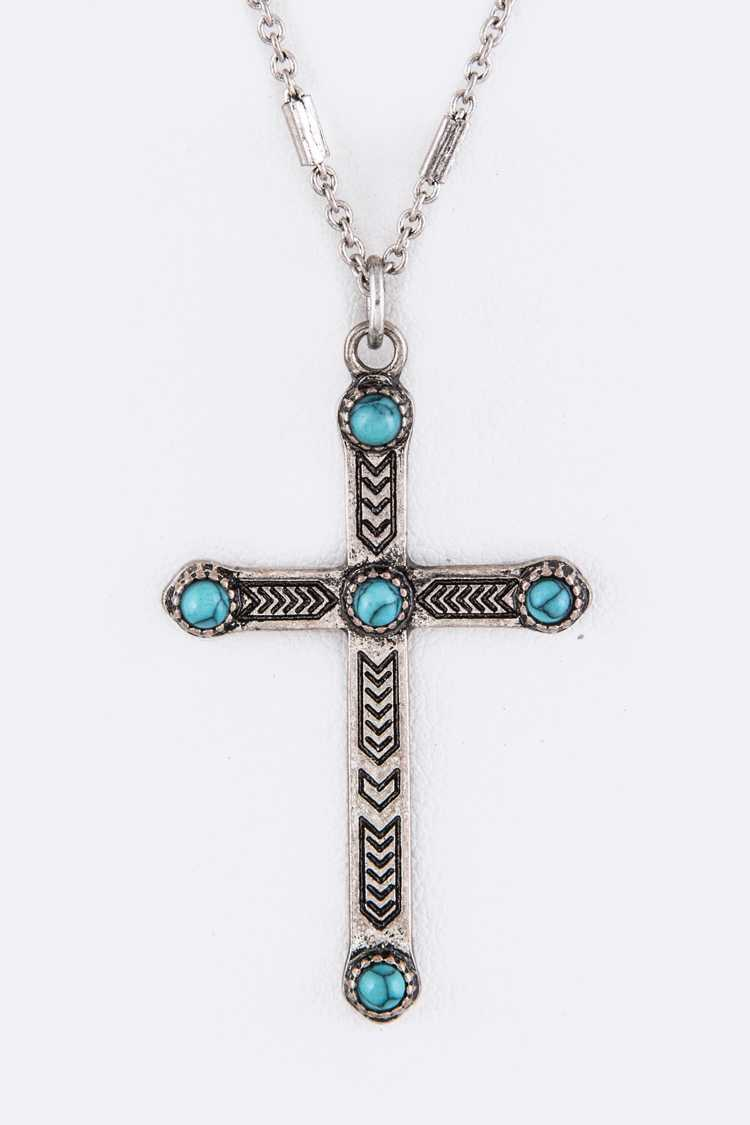 Turquoise Ornate Cross Pendant Necklace
