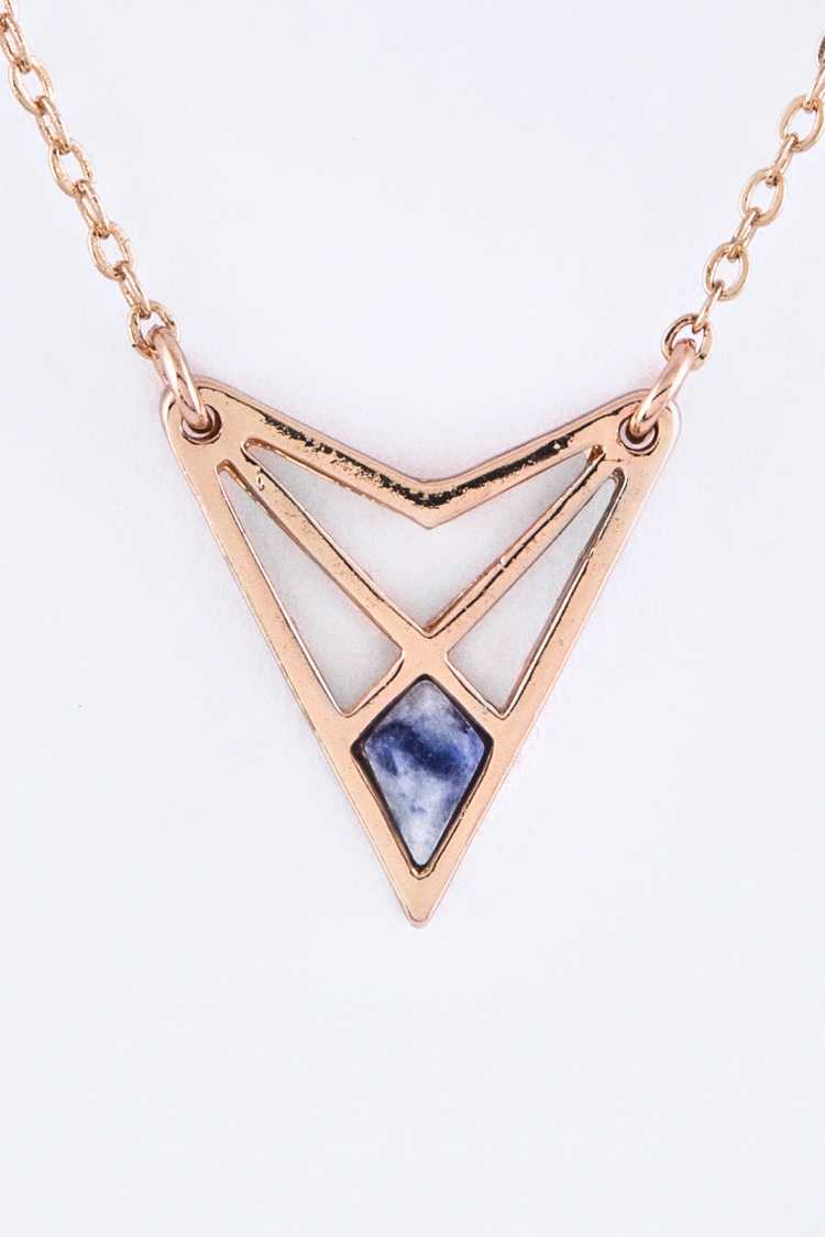 Pave Stone Triangle Pendant Necklace