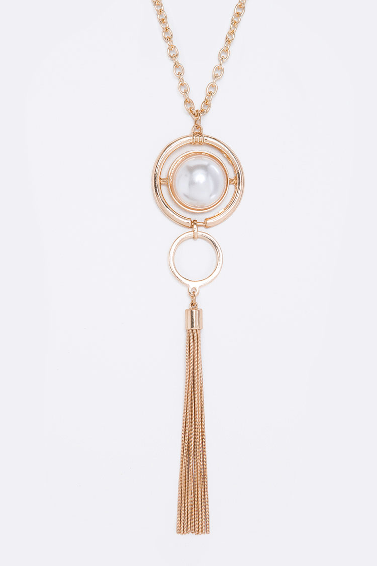 Pearl & Chain Tassel Pendant Necklace Set